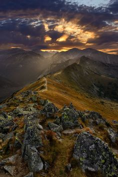 Sunset over Western Tatras, view from Kasprowy Wierch, Tatra Mountains, Poland