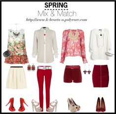 """""""SPRING: Mix & Match: Floral Prints with Red & White"""" by k-hearts-a on Polyvore"""