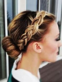 braided headband, bun