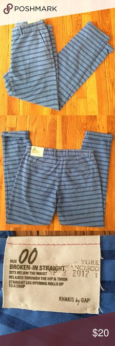 """Gap Pants NWT Cute blue striped Gap pants, new with tag, 29"""" inseam unfolded. GAP Pants Trousers"""