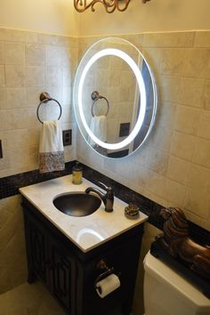 28 Wall Mounted Lighted Vanity Mirror LED MAM1D28 Commercial Grade Round