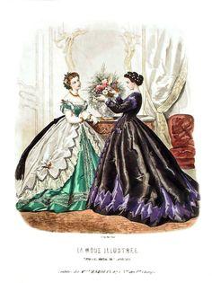 Victorian Women, Victorian Era, Victorian Fashion, Fashion Illustration Vintage, Illustration Art, Fashion Illustrations, Vintage Gowns, Vintage Ladies, 1969 Fashion