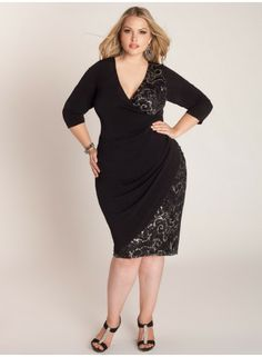 "IGIG Plus Size Clothing by Yuliya Raquel ""Genevieve"" Dress, $170 via IGIGI.Com -- Spritz of sequins brings just the right amount of shine to this faux wrap silhouette. This dress is cut to enhance & define curves with its flattering ruching at the side seams. Complement the shine with a silver metallic pump & art deco gems for some on-trend flare."
