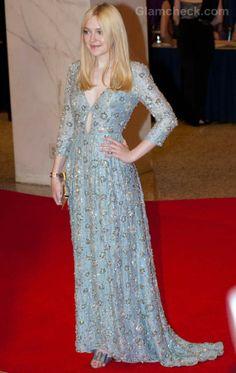 Dakota Fanning Blue Prada Gown