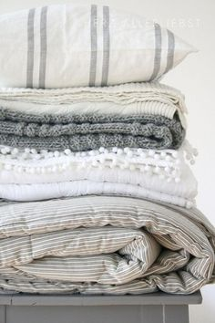 in shades of grey create a Scandinavian look which suits this time of year and will make any bedroom look appealing.Linens in shades of grey create a Scandinavian look which suits this time of year and will make any bedroom look appealing. Master Bedroom Design, Home Bedroom, Bedroom Decor, Bedrooms, Master Suite, Bedroom Linens, Linen Bedding, Cozy Master Bedroom Ideas, Calm Bedroom