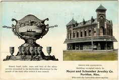 """Cooper Postcard Collection  """"Meyer and Schamber Jewelry Co. Meridian, Miss. Who sold the battleship silver service. Punch bowl, ladle, cups and tray of the silver service presented to the Battleship Mississippi by the people of the state after which it was named.""""  Meridian, Mississippi, Lauderdale County, 19--"""