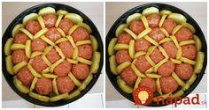 Perfektný obed z tortovej formy. Slaný koláč s mäsom, zemiakmi a výbornou omáčkou. Síce sa nejedná o klasický koláč, my ho tak voláme. Nech ho však nazvete akokoľvek, je to fantastická dobrota. Potrebujeme: 4-6 zemiakov podľa veľkosti mleté mäso (cca 500 g) – bravčové, alebo aj hydinové rozdrvený cesnak 1 vajíčko soľ korenie syr mozzarella... Pork Recipes, Whole Food Recipes, Cooking Recipes, Midevil Food, Smoothie Fruit, Australian Food, Hungarian Recipes, Good Foods To Eat, Recipes From Heaven