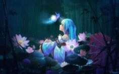 anime girl flowers   Anime Girl Sitting And Lotus Flowers   1680 x 1050   Download   Close