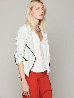 Free People - Crackle Leather Jacket #15Things #fashion #style #trending #hoponmymotorcycle #freepeople #leatherjacket