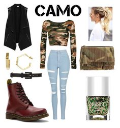 """My Camo Style"" by kroetman ❤ liked on Polyvore featuring WearAll, Topshop, Dr. Martens, Vince, Nails Inc., Oscar de la Renta, Yves Saint Laurent and camostyle"