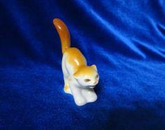 VINTAGE Porcelain Figurine Soviet cat small Polonsky ZHK