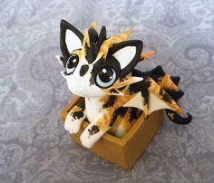Maneko - Calico Cat-Dragon Sculpture