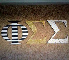 Kate Spade themed wooden sorority letters
