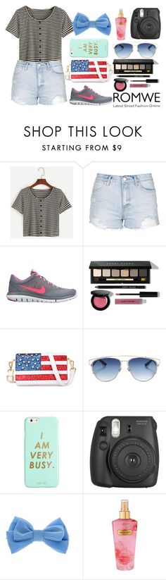 """""""Romwe Contest"""" by teendelta ❤ liked on Polyvore featuring Topshop, NIKE, Bobbi Brown Cosmetics, Chicnova Fashion, Christian Dior, ban.do, Fujifilm, claire's, Victoria's Secret and romwe"""