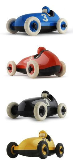wooden speed cars: blue, red, black and yellow. They will keep boys busy for hours. good gift for siblings