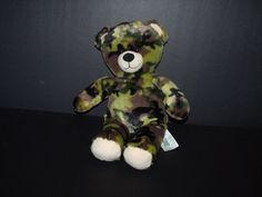 """Build A Bear Army Military Green Camo Camouflage Stuffed Teddy Bear Plush 17""""  #BuildaBear"""