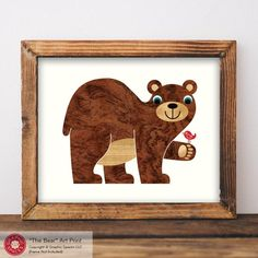 Baby Bear Nursery Art Print 8x10 is our original artwork making a lovely display for a woodland animal baby nursery or kid's room. Our professional Giclée prints are made in-house using the Canon ChromaLife 100+ dye-based ink system for outstanding detail and saturated color reproducti