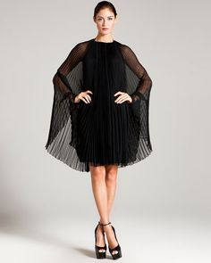 Azzaro 'Empire' Black Silk Pleated Cape Dress