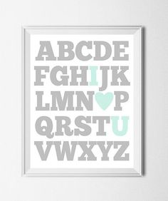 ABC Print Digital Nursery Printable Alphabet Print Boys Room Art I Love You Print Aqua Teal Grey Education Print I Heart U