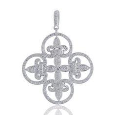 Malakan Jewelry - Platinum-Silver Fleur De Lis Diamond Pendant