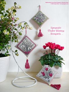 "Scented cushions - Cross Stitch and Blackwork Designs: ""Bouquets"" by Valentina Sardu - Ajisai Press"