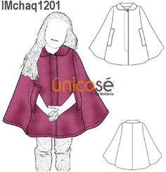 This Pin was discovered by лил Girl Dress Patterns, Skirt Patterns Sewing, Sewing Kids Clothes, Diy Clothes, Warm Outfits, Kids Outfits, Cape Bebe, Girls Cape, Clothing Store Displays