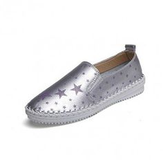 Leather Star Soft Breathable Knitting Slip On Flat Loafers Lazy Shoes