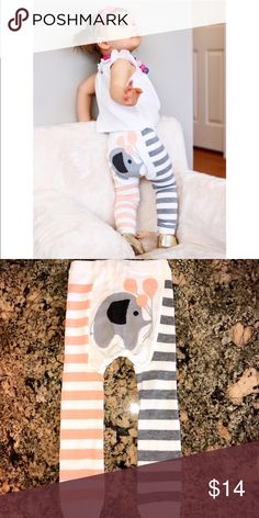 Doodlepants Striped Elephant Leggings Adorable designs in soft & cozy 100% cotton. Reinforced seams for durability & roomy fit for diaper-wearing little ones. Made in USA. Price is firm. Doodlepants  Bottoms Leggings