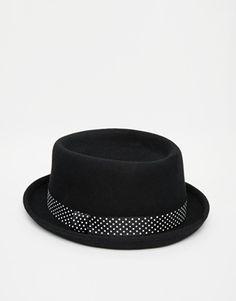 ASOS Pork Pie Hat with Printed Tape Sombrero De Fieltro 7a5f8e299f0f