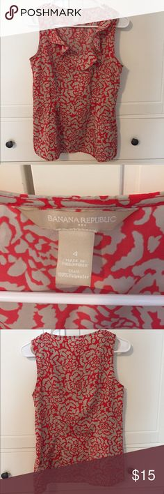 Banana Republic Silky Blouse Orange/reddish and tan BR blouse size 4 in excellent condition. Zipper up the side Banana Republic Tops Blouses