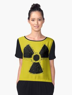'Drawing of Nuclear or Radiation Symbol ' Chiffon Top by Zdenek Sasek Chiffon Tops, V Neck T Shirt, Classic T Shirts, Framed Prints, Symbols, Hoodies, Drawings, Fit, Stuff To Buy