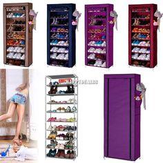 10 Layer 9 Grid Shoe Rack Shelf Storage Closet Organizer Cabinet W/ Cover HD23L #Unbranded