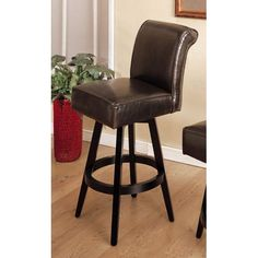 30 Inch Swivel Barstool Brown Armen Living Swivel Bar Stools Kitchen & Dining Furniture
