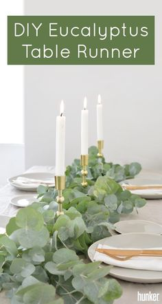 Whether it's a summer wedding or a Thanksgiving dinner,  whip up a fragrant eucalyptus table runner! There's something about a table runner made of fresh greenery that lends itself perfectly to a variety of holidays and celebrations.  Get the DIY on site!
