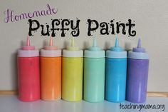 Save money by making your own colorful homemade puffy paint! I love puffy paint! Kids Crafts, Projects For Kids, Diy For Kids, Art Projects, Homemade Puffy Paint, Homemade Slime, Diy Y Manualidades, Preschool Art, Diy Art