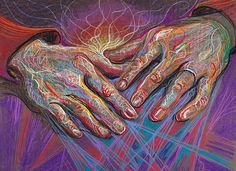 Warmth, 2010, from Healing Hands series, drawing by Fred HattHandsfeel the weave of the world,separate the strands,both the straight and the curled.