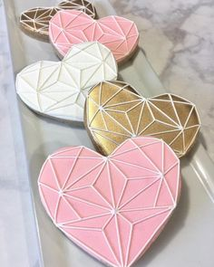 """(@dolcecakesconfections) on Instagram: """"I wish this photo showed how sparkly these cookies actually are #customcookies #heartcookies…"""""""