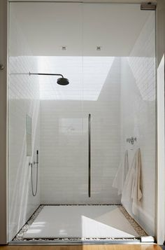 """""""brick"""" white tiles in shower"""