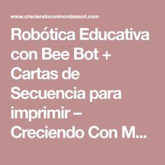 Robótica Educativa con Bee Bot + Cartas de Secuencia para imprimir – Creciendo Con Montessori Montessori, Bee, Initials, Letters, Honey Bees, Bees