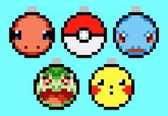 Set of 5 Handmade Pokemon Perler Christmas Balls by NestalgicBits