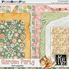 Garden Party Torn Papers :: Coordinates with the entire Leprechaun Alley Digital Scrapbooking Collection, a March 2017 Pickle Barrel Collection by Kathryn Estry @ PickleberryPop  $3.49