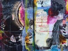 Connections - art journal - by bun // artist: roxanne coble collage артбуки Artist Journal, Art Journal Pages, Art Journaling, Mixed Media Journal, Mixed Media Art, Sketchbook Inspiration, Art Sketchbook, Art Graphique, Altered Art