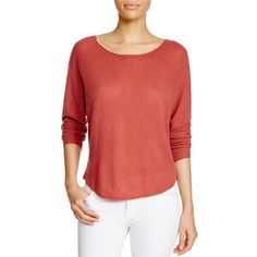 Joie Margeaux Cashmere Sweater (9.760 UYU) ❤ liked on Polyvore featuring tops, sweaters, burnt terracotta, red top, red cashmere sweater, cashmere tops, joie and red sweater