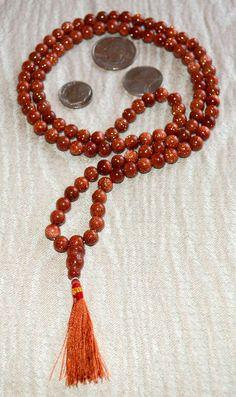 GOLDSTONE SUNDSTONE 108 BEAD PRAYER JAPA MALA KARMA NECKLACE-NIRVANA MEDITATION