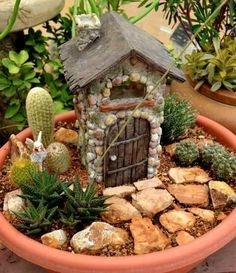 Looking for unique container ideas? Create a fairy garden using succulents whose unique shapes add a whimsical twist to miniature gardens. Indoor Fairy Gardens, Mini Fairy Garden, Fairy Garden Houses, Miniature Fairy Gardens, Garden Birds, Succulent Planter Diy, Succulents Garden, Planter Ideas, Dish Garden