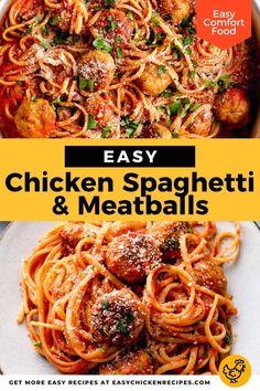 Easy Chicken Spaghetti, Spaghetti And Meatballs, Spaghetti Recipes, Pasta Recipes, Dinner Recipes, Chicken With Italian Seasoning, Italian Chicken Recipes, Easy Chicken Recipes, Turkey Recipes