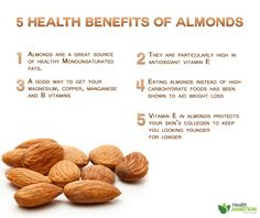 5 Health Benefits of Almonds. I always try to replace peanut butter with almond butter!