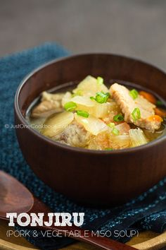 [JAPAN] Tonjiru (Pork & Vegetable Miso Soup) | Easy Japanese Recipes at JustOneCookbook.com  Japanese recipes   http://www.pinterest.com/search/pins/?q=Japanese%20recipes