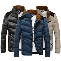 $48.98 / Mens Jackets Slim Fit Stand Collar Winter Cotton Jacket Coat - FREE SHIPPING