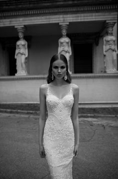 2014 Berta Bridal Spaghetti Strap White Sheath Wedding Gowns Sexy Backless Full Lace Appliqued Wedding Dresses